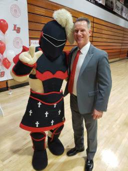 Aaron Marshall and mascot
