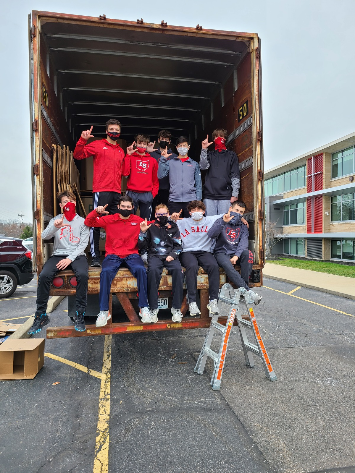 Students in truck
